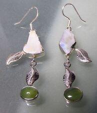 Sterling silver rough Ethiopian opal & cab peridot long earrings. UK Seller.