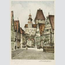 Adrianus van Zeegen: Rothenburg Röderbogen. Kolorierte Radierung.
