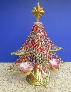 "Beaded Metal Gold Tone Base CHRISTMAS TREE Candle Tea Light Seasonal Deco 18.5"""