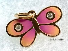 Tiffany & Co 18k 750 Rose Gold Butterfly Pink Enamel Diamond Charm Pendant 2058H