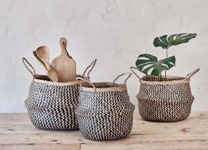 1 Small Black Seagrass Belly Basket Zig Zag Straw Planter Nkuku Ekuri Basket