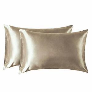 2 Pack Silk Pillowcase, Blissy Satin Pillowcase for Hair and Skin, Khaki