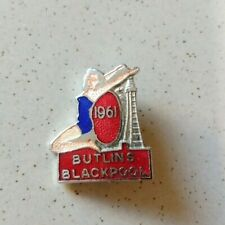 More details for rare butlins blackpool 1961 red enamel badge lady & tower fattorini f&s