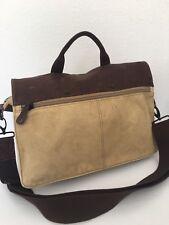 Fossil Messenger Bag Unisex Khaki Canvas Leather Designer Fashion Hip Pockets