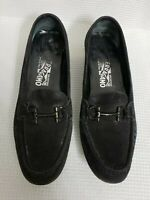 Salvatore Ferragamo Black Suede Horse Bit Driving Loafers size 8.5 Men's $630