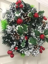30cm Artificial Christmas Wreath Snow Covered Holly Wreath Christmas Decoration