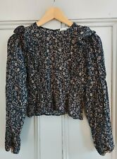 Pull & Bear Black Floral Gathered Blouse (Size M)