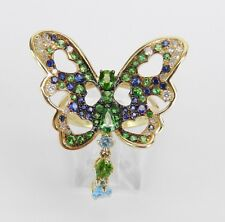 Tsavorite Garnet Sapphire Diamond Topaz Butterfly Ring 14K Yellow Gold Size 7