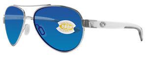 Costa Del Mar Loreto Palladium Silver White Blue Mirror 580 Plastic Polarized