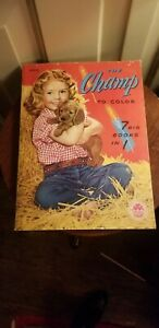 VINTAGE THE CHAMP TO COLOR MERRIL COLORING BOOKS 7 big books in 1 #2505 unused