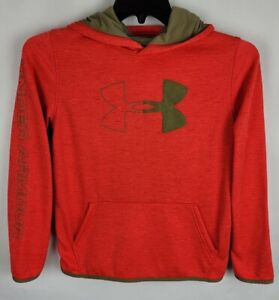 Under Armour Youth XL Loose Heathered Orange Cold Gear Spellout Sleeve Hoodie