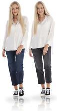Ladies Ankle Grazer Straight Leg Womens Stretch Mid Rise Denim Jeans