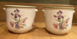 "2 Vintage C.S. Goodfriend Small Cache Pots Planters Floral Side Handles 3"" Italy"