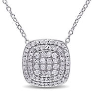 Amour Sterling Silver 1/2ct TDW Diamond Halo Necklace