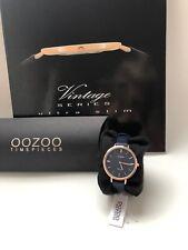 Oozoo Vintage Damenuhr C9817 rose dunkelblau Lederband 34 mm NEU OVP