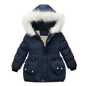 Toddler Baby Kids Girls Thick Warm Snow Hoodie Outwear Coats Zip Jack Fashion