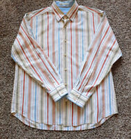 Tommy Bahama Men's L/S Button Up Striped Large Silk Shirt Spread Collar EUC!