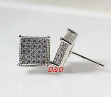 10mm Mens Ladys18k White Gold Finish  Square Lab Diamond Earrings Studs