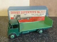 VINTAGE DINKY SUPERTOYS No.513 GUY FLAT TRUCK 1ST TYPE CAB IN ORIGINAL BOX VGC