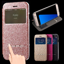 Bling Glitter Flip Window View Smart Leather Slim Case Cover For iPhone Samsung