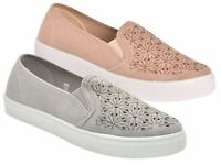 Ladies Slip on Casual Pumps Womens Plimsolls Flat Twin Gusset Canvas Shoes Size