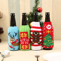 1PC Knitted Christmas beer bottle Cover bottle decoration Xmas Party Home Decor