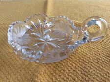 Vintage Heavy Cut Crystal Sawtooth Edge Candy Nut Dish w/ Handle Crystal Handle