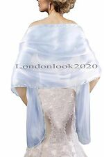 Ladies Women Lovely Evening Dress Silky Sky Blue Shawl Wedding Prom Stole Wrap