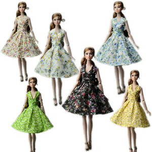 Fashion Countryside Floral Dress For 11.5inch Doll Clothes Outfits Accessories