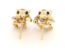 14k Gold Panther Earrings with Ruby Sapphire and Diamonds Omega Back Stud