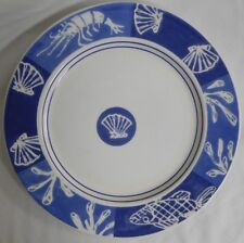 CRATE & BARREL ROUND SERVING PLATTER CHOP PLATE BLUE WHITE SCALLOP LOBSTER ITALY