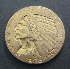 1908  $5 Indian Head Gold  Half Eagle  - (P524)