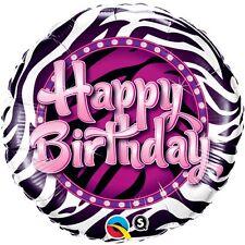 "Decoración Fiesta Cumpleaños 18"" Feliz Cumpleaños Globo De Aluminio Púrpura Zebra Print"