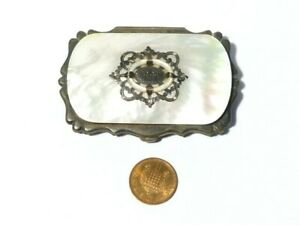 Antique Mother of Pearl Covered Coin Silk Concertina Purse Silver MA Initials