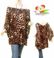 Boho Plus Leopard Off Shoulder Bell Ruffle Sleeve Tunic Shirt Top 1X 2X 3X *1142