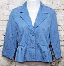 Silkland Jacket L 3/4 Sleeve Peplum Cotton Blend Blue Leaf Jacquard Lined Work