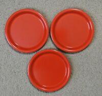 "Set 3 Vintage Ingrid Chicago Mid Century Modern 8"" Stackable Red Plastic Plates"