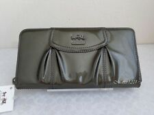 Coach NWT 46620 Madison Patent Leather Accordion Zip Around Wallet Pewter