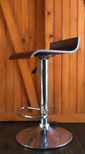 Midcentury Modern Retro Wood Piston Bar Stool With Chrome Metal Base