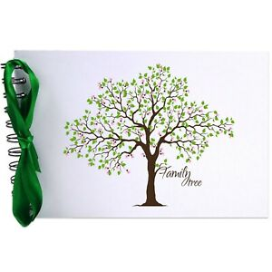 Ribbon, Family Tree, Photo Album, Scrapbook, Blank White Pages, A5