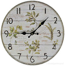 Nostalgie Küchenuhr Wanduhr Landhausstil Holz weiß Kräuter Uhr Quartzuhr Rund