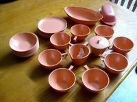 Vintage Sun Valley Melmac Pink Coral Pink 28 Pc Plates Bowls Cups Serving Bowl