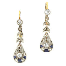 Art Deco18k yellow gold platinum topped sapphire and diamond earrings