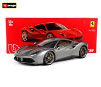 Bburago 1:18 Ferrari 488 GTB Diecast Racing Car Model Hardcover Version Gray NEW