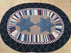 """Vtg Oval Rag Rug Reversible 34"""" x 48"""" Hand Made Braided Cotton Red White Blue"""