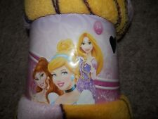 "DISNEY'S PRINCESS FLEECE BLANKET GIRLS CINDERELLA BELLE aurora THROW 50""X60"""