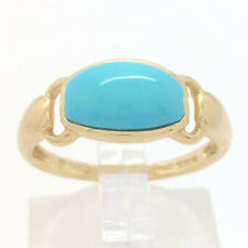 14K Solid Yellow Gold Simulated Turquoise Ring Size 7