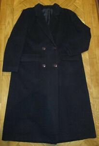 Owen Owen Navy Wool/Cashmere Double Breasted Long Coat 16