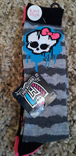 Monster-High-2 Pair-Pack-Knee-High-Socks-Fits-Shoe-Size-7.5-3.5-Solid-Stripes