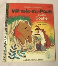 Winnie The Pooh Meets Gopher Vintage Little Golden Book Reading Nostalgia